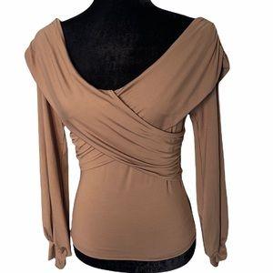 COPY - FAVLUX Women's Crossover Top Off Shoulder Brown